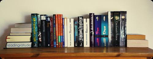 Mein momentanes Reserveregal: links liegen die bereits gelesenen Bücher und rechts die Neuzugänge