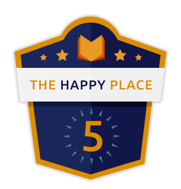 The Happy Place Five banner in dark blue rimmed in gold with a golden book and golden stars